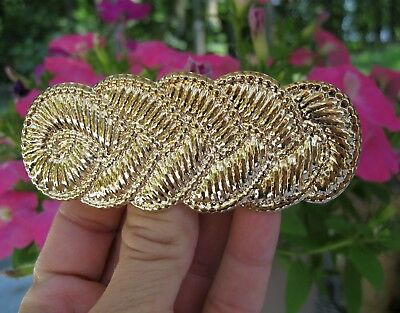 Vintage Nos Gold Lightweight Metal Swirl Hair Barrette French Clip 1980's New