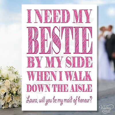 Personalised Will you be my Maid of honour Bridesmaid Bestie Invite Card wedding