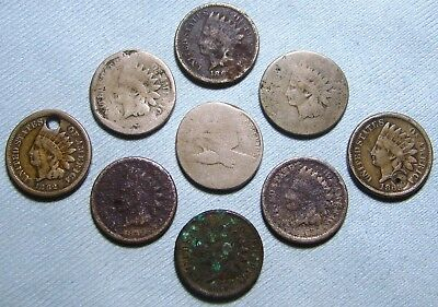 1857/8? Flying Eagle Cent, 1859 1860 1862 1863 186? Indian Head Cents, Lot
