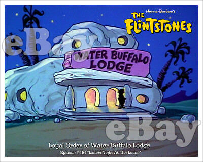 Rare! FLINTSTONES Cartoon Color Photo HANNA BARBERA Studios WATER BUFFALO LODGE