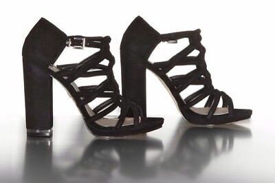 20b50f28dcaf  256 BCBG MAX AZRIA Black Leather Sexy Strappy Jeb Block Heel Sandals - 38.5  8.5
