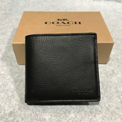 New Coach Men Black Leather Wallet F75084