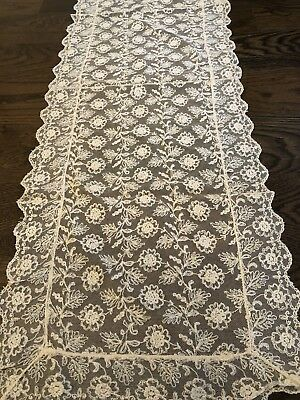 ANTIQUE French TAMBOUR Tulle Needle LACE TABLE scarf DRESSER RUNNER