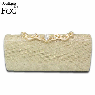 HANDMADE | Shiny Glitter Women Fashion Day Clutches Gold Metal Evening Bag