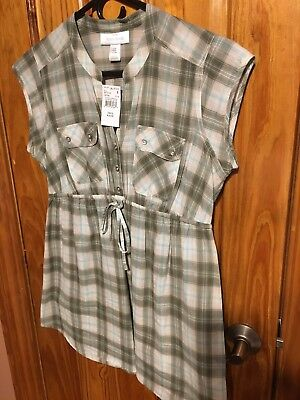 Motherhood Maternity Shirt Top button up Plaid Size Small New with Tags