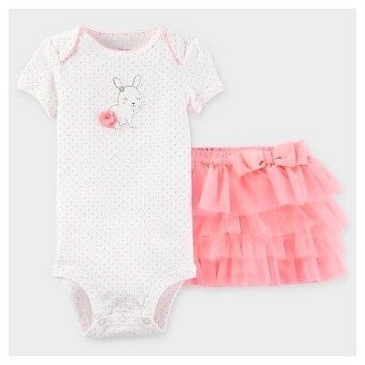 1d48920dc Carters Infant Girl Easter Bunny Pink Tutu Skirt Bodysuit Baby Outfit Bow  3M 6M