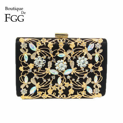 HANDMADE | Women Fashion Crystal Clutch Evening Bag Black Satin Metal