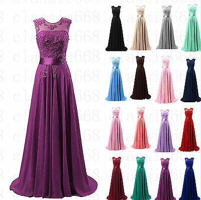 Long Chiffon Lace Evening Formal Evening Party Prom Bridesmaid Dresses Size 6~22