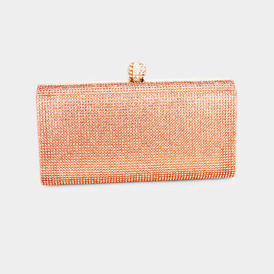 Gorgeous High Quality Crystal Pave Evening Clutch Wedding Prom Formal Rose Gold
