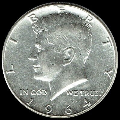 "1964 D Kennedy Half Dollar 90% SILVER US Mint Coin ""About Uncirculated"""