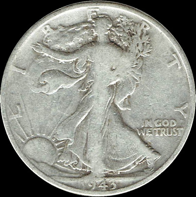 "A 1943 D Walking Liberty Half Dollar 90% SILVER US Mint ""Average Circulation"""