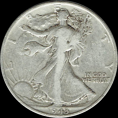 "A 1943 P Walking Liberty Half Dollar 90% SILVER US Mint ""Average Circulation"""