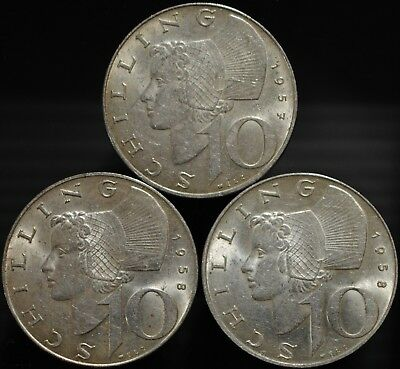 Lot of 3 Austria 10 Shilling Coins .640 Silver. 1 x 1957, 2 x 1958. #2