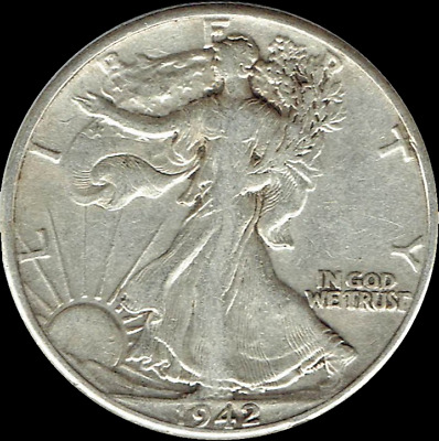 "A 1942 S Walking Liberty Half Dollar 90% SILVER US Mint ""Average Circulation"""