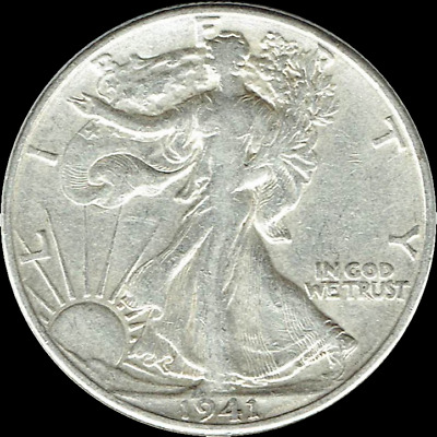 "A 1941 P Walking Liberty Half Dollar 90% SILVER US Mint ""Average Circulation"""