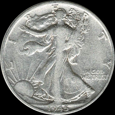"A 1945 S Walking Liberty Half Dollar 90% SILVER US Mint ""Average Circulation"""