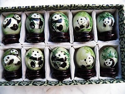 Chinese Box set 10 JADE EGGS Hand-Painted with PANDAS Double Happiness on Stands