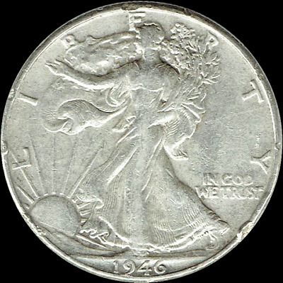 "A 1946 P Walking Liberty Half Dollar 90% SILVER US Mint ""Average Circulation"""