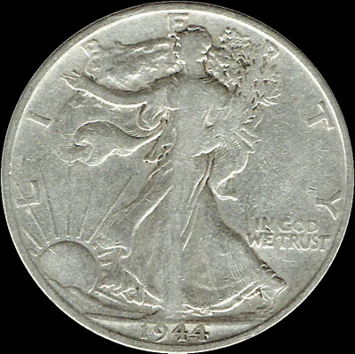 "A 1944 S Walking Liberty Half Dollar 90% SILVER US Mint ""Average Circulation"""