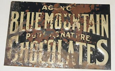 CHOCOLATES Candy TIN SIGN ANTIQUE AUTHENTIC BLUE MOUNTAIN