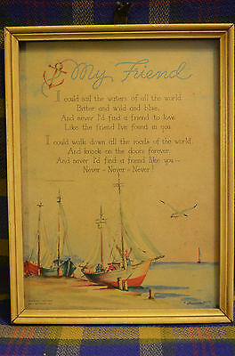 Vintage Hall Brothers, Inc MY FRIEND Poem Framed Picture Sent to WW II Marine Co