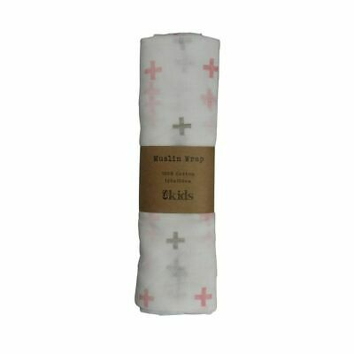 NEW ES Kids Muslin Cotton Cloth - Pink Crosses