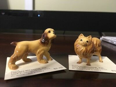 Hagen Renaker Lot Cocker Spaniel Pomeranian Dogs On Cards Bone China Figurines