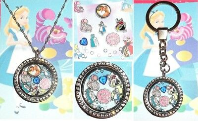 16-17pcs ALICE IN WONDERLAND Living Memory Floating Locket Memory Chesire Cat