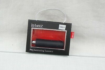 LaTweez Pro Illuminating Tweezers with Lipstick Case Black OPEN BOX 15S17