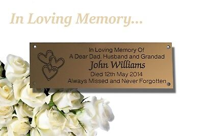 Brass Effect Memorial Bench Plaque (Love hearts)
