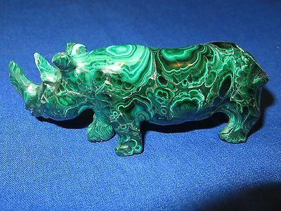 RARE Gorgeous HEALING MALACHITE Greens 6 Ounce RHINO Sculpture 1 of a Kind