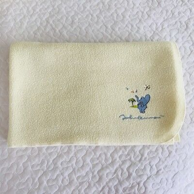 John Lennon Elephant Music Yellow Baby Blanket Soft Fleece Safari Carters Vtg