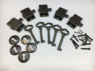 Cabinet Front Door Lock and Key Set of 5 in Antique Finish