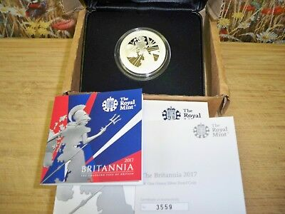 THE 2017 UK BRITANNIA 1oz SILVER PROOF £2 COIN WITH C.O.A NUMBER 03559