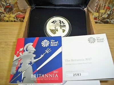 THE 2017 UK BRITANNIA 1oz SILVER PROOF £2 COIN WITH C.O.A NUMBER 2583