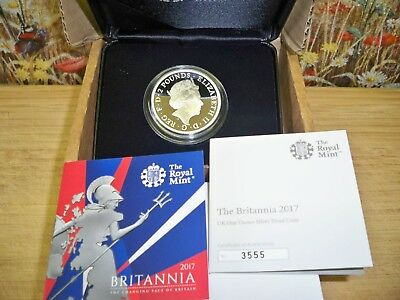 THE 2017 UK BRITANNIA 1oz SILVER PROOF £2 COIN WITH C.O.A NUMBER 3555