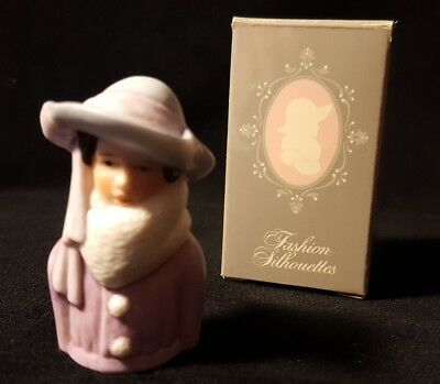 Avon Fashion Silhouettes porcelain thimble 1983 Circa 1923 Lady Hat and Scarf