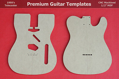 "Telecaster Body Router Template Set wVintage Router Hump CNC TELE 1/2"" MDF  0.5"""