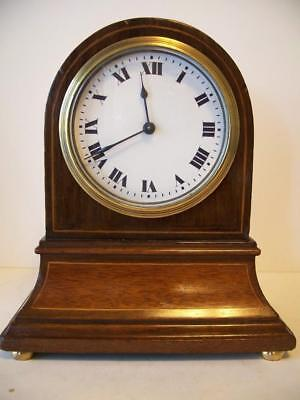 ELEGANT EDWARDIAN ANTIQUE 8 DAY MAHOGANY INLAID MANTLE CLOCK c1900 FOR TLC