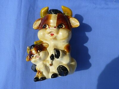 Vintage Five Inch Cow with Calf Piggy Bank