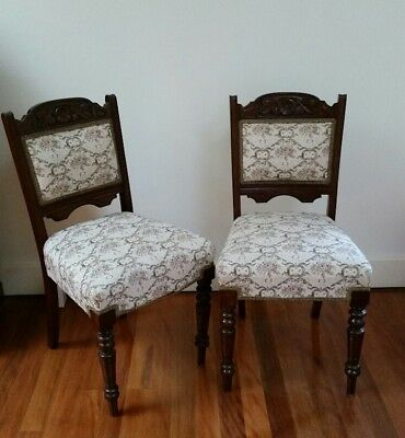 6 Antique Blackwood Upholstered Dining Chairs