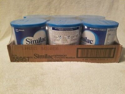 Similac Advance factory sealed 6 pack of 12.4 oz cans baby formula