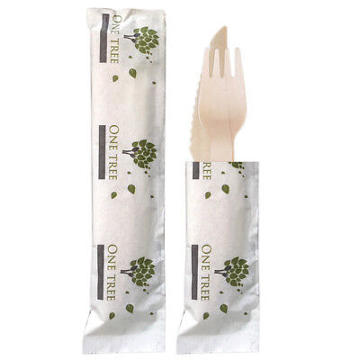 400x Wrapped Wooden Cutlery Knife Fork & Napkin Disposable Eco Biodegradable NEW