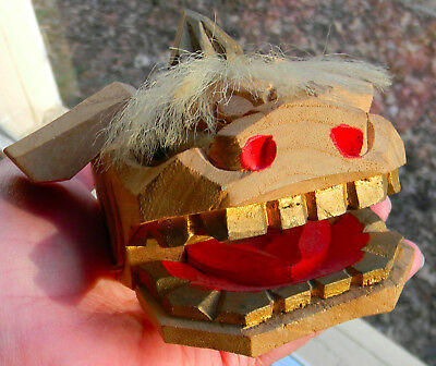 Asian Japanese Chinese carved wooden puppet head moving mouth hair dragon dog
