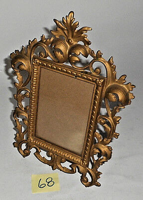 """Antique Victorian Style Ornate Cast Iron GOLD Tone 11 1/2"""" T  Picture Frame 68"""