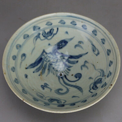Chinese old hand-carved porcelain Blue & white phoenix pattern flowerpot H