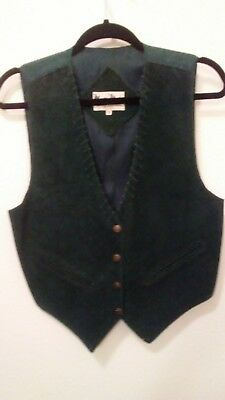 VINTAGE MONA MODE Emerald Green SUEDE Leather Vest Ladies SZ S  WESTERN Lined