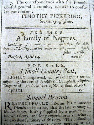 <1798 BALTIMORE Maryland newspaper NEGRO FAMILY 4 SALE Slave Ad BLACK AMERICANA