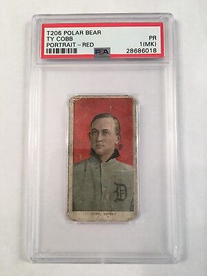 1909-1911 T206 Ty Cobb Red Portrait  PSA 1(m) with rare - POLAR BEAR back