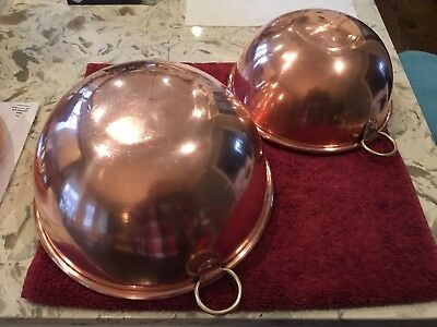 Vintage Set of Two Copper Mixing Bowls/Zabaglione